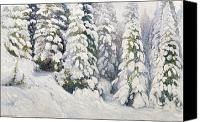 Snowy Trees Painting Canvas Prints - Winter Tale Canvas Print by Aleksandr Alekseevich Borisov