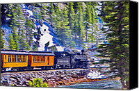 Train Canvas Prints - Winter Train Canvas Print by Jeff Kolker