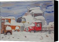 Angry Sky Canvas Prints - Winter Truck Yard Canvas Print by Tim Bhajjan