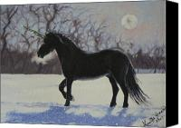 Black Unicorn Canvas Prints - Winter Unicorn Canvas Print by Louise Green