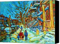 Montreal Street Life Canvas Prints - Winter  Walk In The City Canvas Print by Carole Spandau