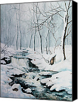 Winter Landscape Paintings Canvas Prints - Winter Whispers Canvas Print by Hanne Lore Koehler