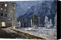 Flurries Canvas Prints - Winter Wonderland Chateau Canvas Print by Andrea Hazel Ihlefeld
