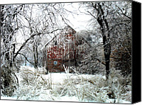 Barn Digital Art Canvas Prints - Winter Wonderland Canvas Print by Julie Hamilton