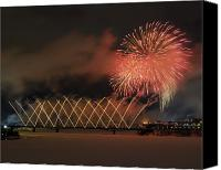 Fire Works Canvas Prints - Winterlude Festival Opening.. Canvas Print by Nina Stavlund