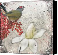 Fig Bird Canvas Prints - Winters Fig Bird Canvas Print by Lesley Smitheringale