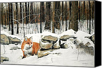 Fox Pastels Canvas Prints - Winters Flight Canvas Print by Pat Morris