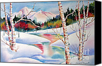 Slopes Painting Canvas Prints - Winters Light Canvas Print by Deborah Ronglien