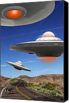 Ufo Canvas Prints - WIP You Never Know What You will See On Route 66 Canvas Print by Mike McGlothlen