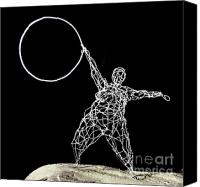 Kinetic Sculpture Sculpture Canvas Prints - Wire Lady Holding Hoop Canvas Print by Tommy  Urbans