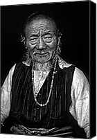 Tibetan Canvas Prints - Wisdom monochrome Canvas Print by Steve Harrington