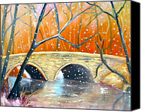 Fairmount Park Painting Canvas Prints - Wissachickon Winter Canvas Print by Marita McVeigh