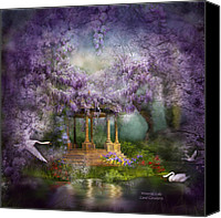 Scene Mixed Media Canvas Prints - Wisteria Lake Canvas Print by Carol Cavalaris