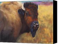 Bison Pastels Canvas Prints - With Age Comes Beauty Canvas Print by Frances Marino