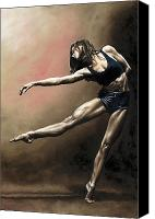 Contemporary Dance Painting Canvas Prints - With Strength and Grace Canvas Print by Richard Young