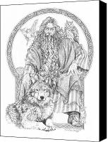 Magician Drawings Canvas Prints - Wizard III - The Family Portrait Canvas Print by Steven Paul Carlson