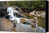 Parkway Canvas Prints - WNC Flowing Zen Waterfalls Landscape - Harmony Waterfall Canvas Print by Dave Allen