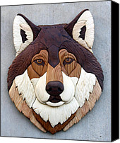 Wolf Sculpture Canvas Prints - Wolf Canvas Print by Bill Fugerer