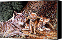 Wolf Cubs Canvas Prints - Wolf Den Canvas Print by Richard De Wolfe