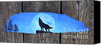 Wolf Sculpture Canvas Prints - Wolf Howl1 Canvas Print by Monika Dickson