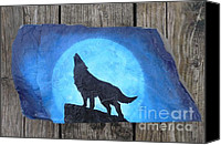 Wolf Sculpture Canvas Prints - Wolf Howl2 Canvas Print by Monika Dickson