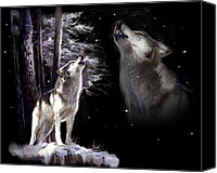 Animal Greeting Card Canvas Prints - Wolf  Howling memory Canvas Print by Gina Femrite