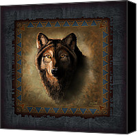 Tribal Art Painting Canvas Prints - Wolf Lodge Canvas Print by JQ Licensing
