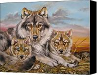 Wolf Cubs Canvas Prints - Wolf Nap Canvas Print by Martin Katon