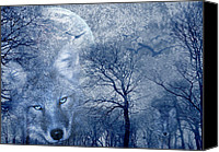 Wood Mixed Media Canvas Prints - Wolf Canvas Print by Svetlana Sewell