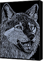Carnivore Glass Art Canvas Prints - Wolfie Canvas Print by Jim Ross
