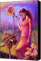 Landscape Pastels Canvas Prints - Woman Among the Sunflowers Canvas Print by Ellen Dreibelbis