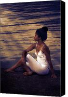 Meditate Canvas Prints - Woman At A Lake Canvas Print by Joana Kruse