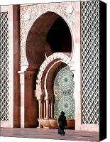 Casablanca Canvas Prints - Woman at Mosque Casablanca Canvas Print by Linda  Parker
