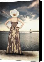 Woman Waiting Canvas Prints - Woman At The Lake Canvas Print by Joana Kruse