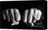 Clenching Photo Canvas Prints - Woman clenching two hands into fists in a fit of aggression Canvas Print by Sami Sarkis