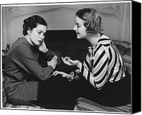 Consoling Canvas Prints - Woman Consoling Friend At Fireplace, (b&w) Canvas Print by George Marks
