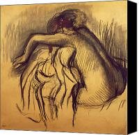 Life Drawing Drawings Canvas Prints - Woman Drying Canvas Print by Edgar Degas