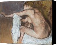 Sensual Pastels Canvas Prints - Woman Drying her Arm Canvas Print by Edgar Degas