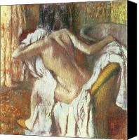 Wash Pastels Canvas Prints - Woman drying herself Canvas Print by Edgar Degas