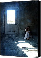 Shining Down Canvas Prints - Woman Hiding in Abandoned Room Canvas Print by Jill Battaglia