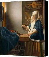Pregnant Canvas Prints - Woman Holding a Balance Canvas Print by Jan Vermeer