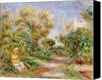 Sat Canvas Prints - Woman in a Landscape Canvas Print by Renoir