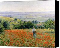 Picker Canvas Prints - Woman in a Poppy Field Canvas Print by Leon Giran Max