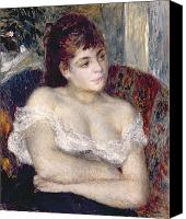 Impressionism Canvas Prints - Woman in an Armchair Canvas Print by Pierre Auguste Renoir