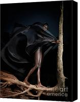 Twenties Photo Canvas Prints - Woman in Black Flying Outfit Canvas Print by Oleksiy Maksymenko