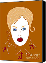Brown Drawings Canvas Prints - Woman in Fashion Canvas Print by Frank Tschakert