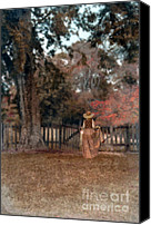 Humble Canvas Prints - Woman in Long Dress and Straw Hat Entering Gate Canvas Print by Jill Battaglia