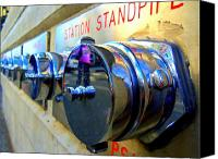 Woman In Water Photo Canvas Prints - Woman In Pink At Station Standpipe Canvas Print by Randall Weidner