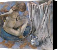 Wash Pastels Canvas Prints - Woman in the Tub Canvas Print by Edgar Degas