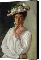 Half-length Canvas Prints - Woman in White Canvas Print by William Merritt Chase